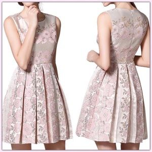 Dresses & Skirts - Gold Blush Floral Lace Pleated Fit and Flare Dress